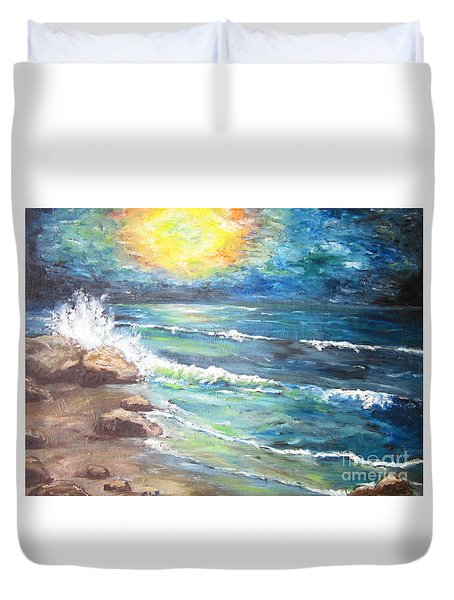 Duvet Cover featuring the painting Horizons by Cheryl Pettigrew