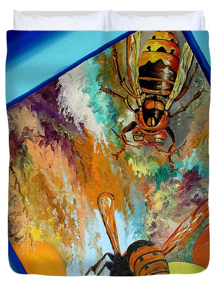 Duvet Cover featuring the painting Hornets by Daniel Janda