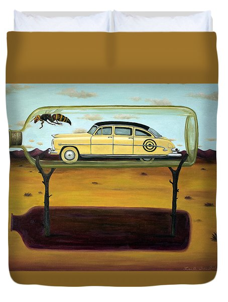 Hornets In A Bottle Duvet Cover by Leah Saulnier The Painting Maniac