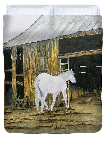 Horse And Barn Duvet Cover by Bertie Edwards