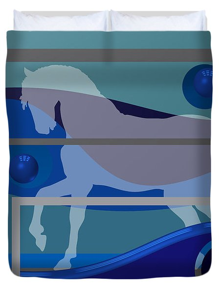Horse And Blue Balls Duvet Cover