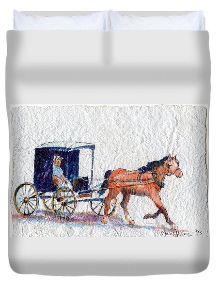 Horse And Buggy Duvet Cover by Mary Haley-Rocks