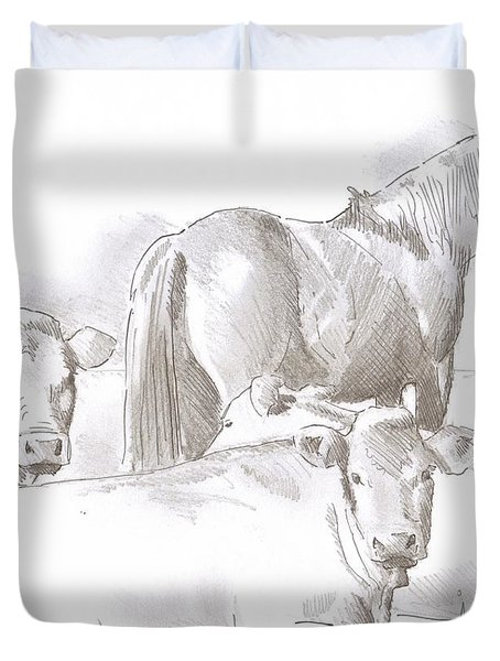 Horse And Cows Sketch Duvet Cover