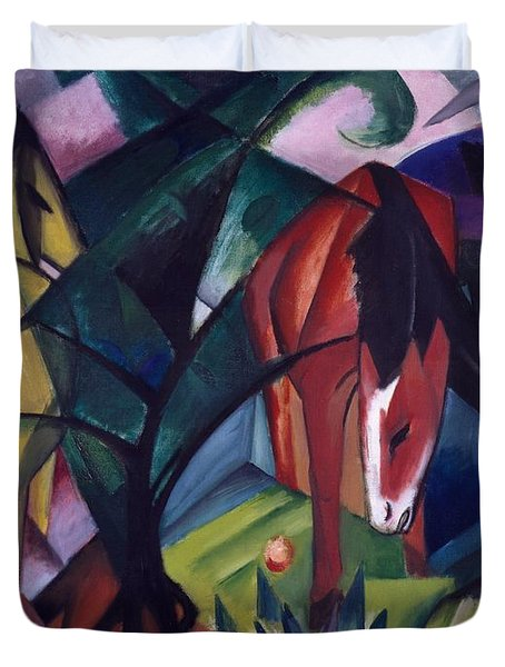 Horse And Eagle Duvet Cover by Franz Marc