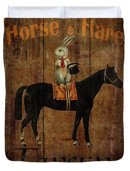 Horse And Hare Pub Duvet Cover
