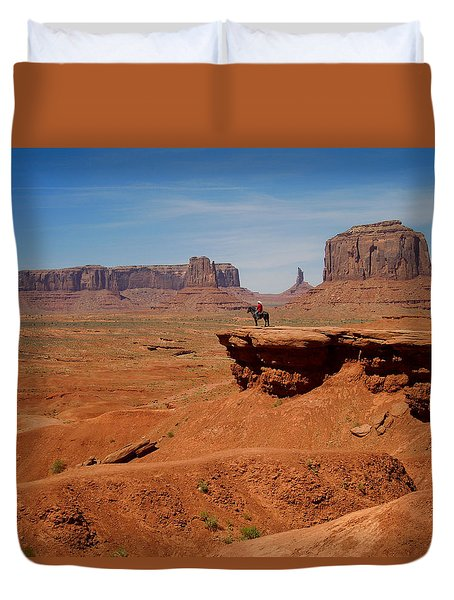 Horse And Rider In Monument Valley Duvet Cover