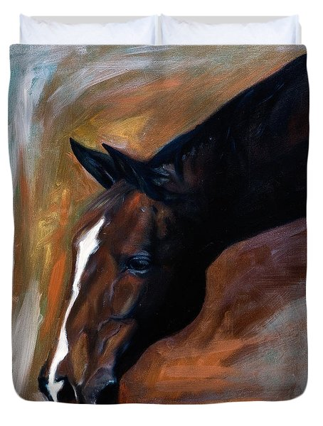 Duvet Cover featuring the painting horse - Apple copper by Go Van Kampen