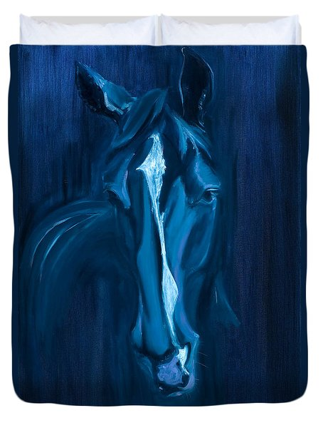 Duvet Cover featuring the painting horse - Apple indigo by Go Van Kampen