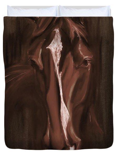 Horse Apple Warm Brown Duvet Cover