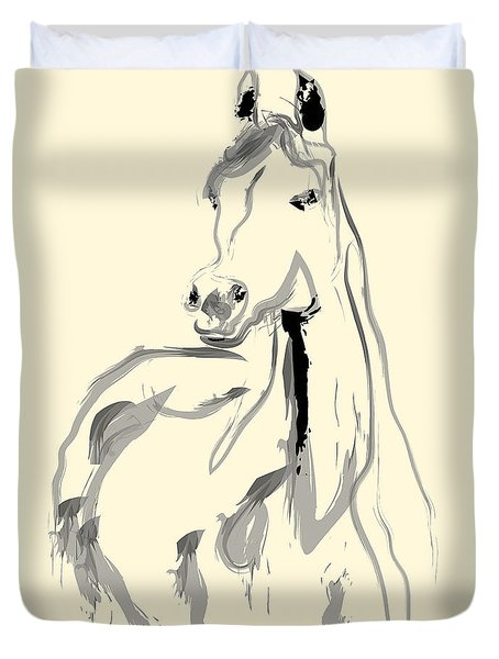 Duvet Cover featuring the painting Horse - Arab by Go Van Kampen