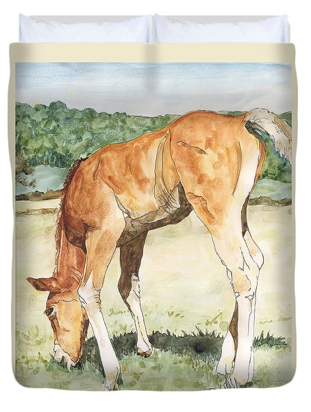 Horse Art Long-legged Colt Painting Equine Watercolor Ink Foal Rural Field Artist K. Joann Russell  Duvet Cover