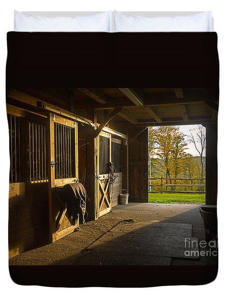 Horse Barn Sunset Duvet Cover