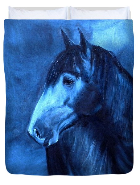 Duvet Cover featuring the painting Horse - Carol In Indigo by Go Van Kampen