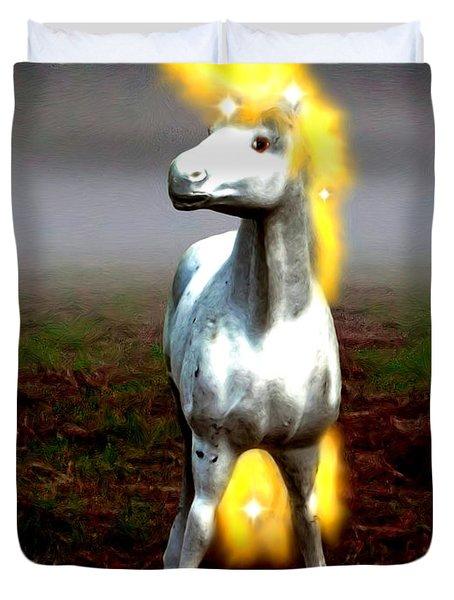 Duvet Cover featuring the digital art Horse by Daniel Janda