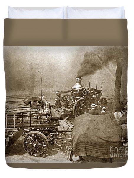 Horse Drawn Water Steam Pumper Fire Truck Circa 1906 Duvet Cover