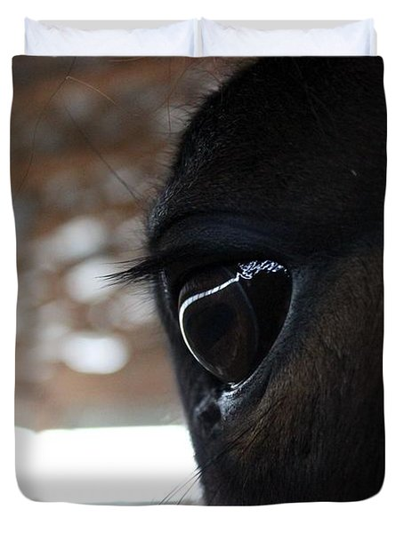 Horse Eye From Behind Duvet Cover