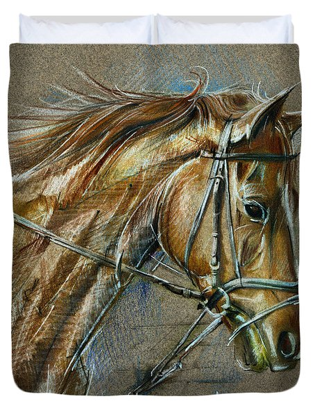 My Horse Face Drawing Duvet Cover