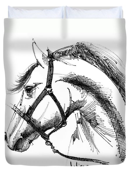 Horse Face Ink Sketch Drawing Duvet Cover by Daliana Pacuraru
