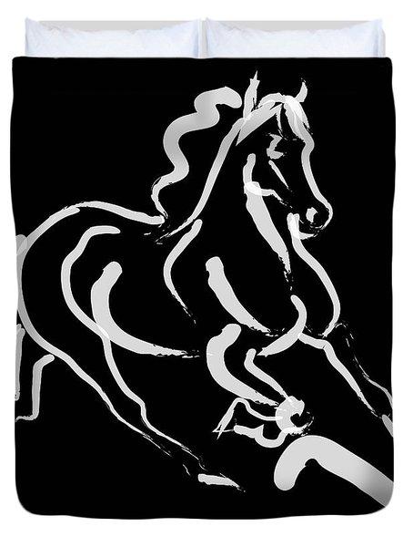 Horse - Fast Runner- Black And White Duvet Cover
