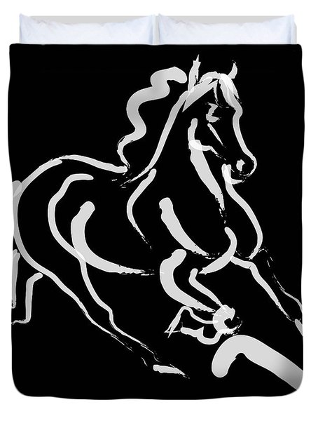 Horse - Fast Runner- Black And White Duvet Cover