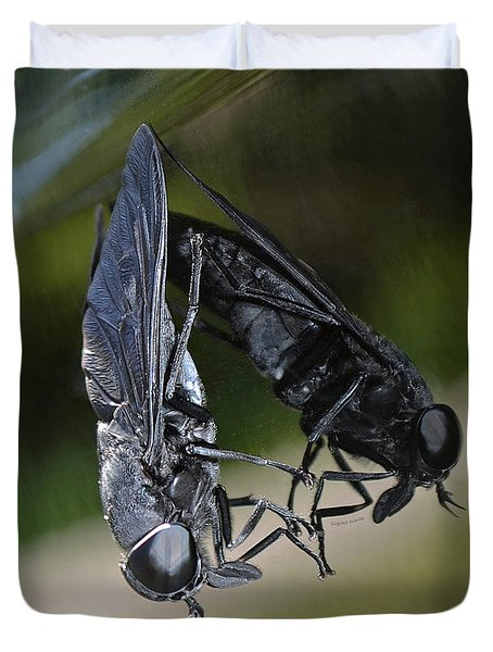 Duvet Cover featuring the photograph Horse Fly by DigiArt Diaries by Vicky B Fuller