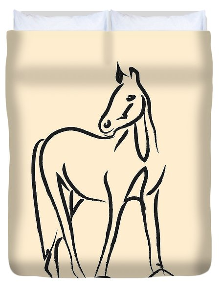 Duvet Cover featuring the painting Horse - Grace by Go Van Kampen