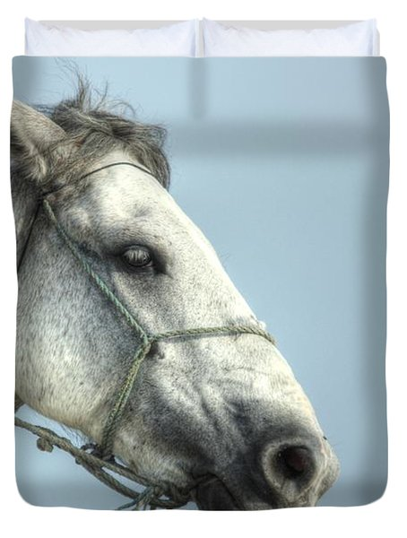 Duvet Cover featuring the photograph Horse Head-shot by Eti Reid