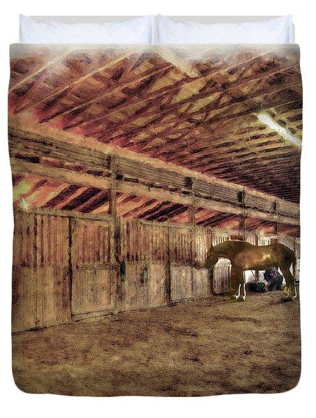Horse In Barn Duvet Cover by Dan Friend
