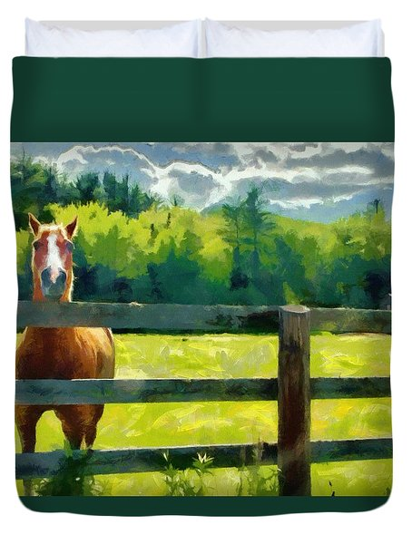 Duvet Cover featuring the painting Horse In The Field by Jeff Kolker