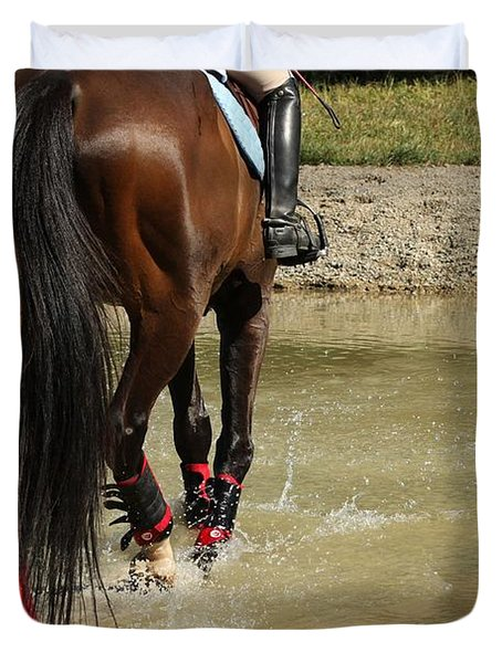 Horse In Water Duvet Cover
