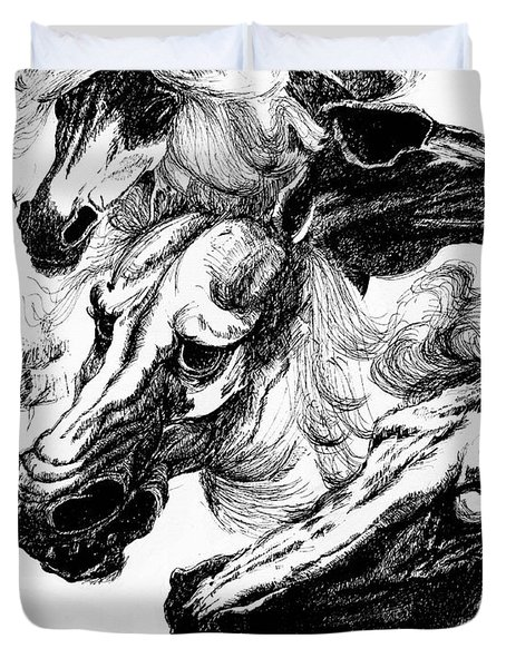 Horse Ink Drawing  Duvet Cover