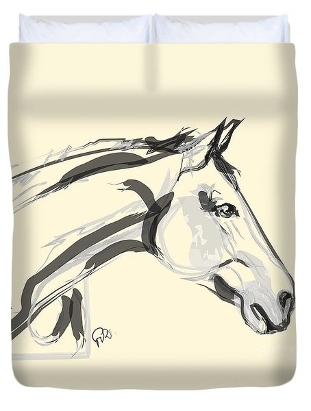 Duvet Cover featuring the painting Horse - Lovely by Go Van Kampen