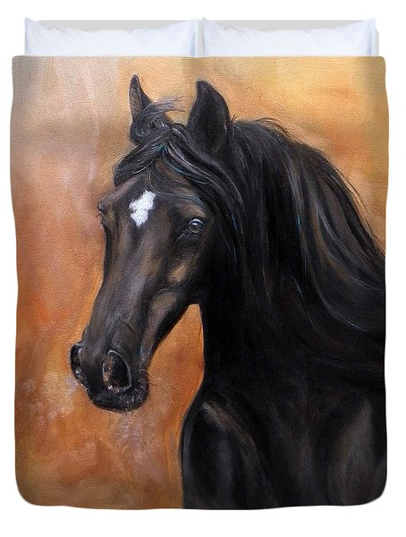 Duvet Cover featuring the painting Horse - Lucky Star by Go Van Kampen