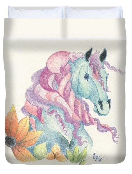 Horse Of A Different Colour Duvet Cover by Kirsten Slaney