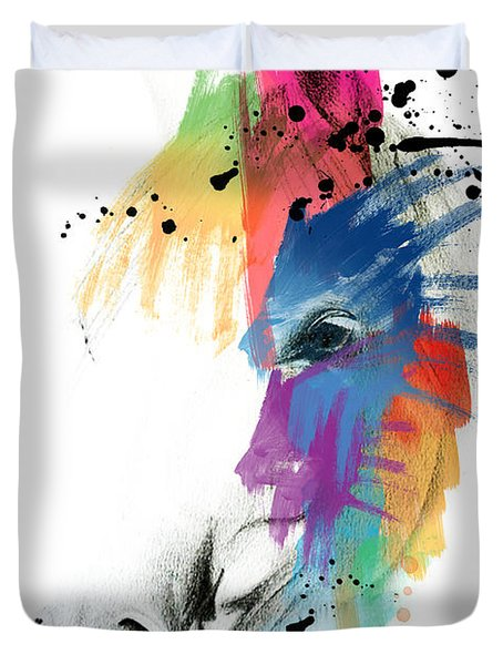 Horse On Abstract   Duvet Cover