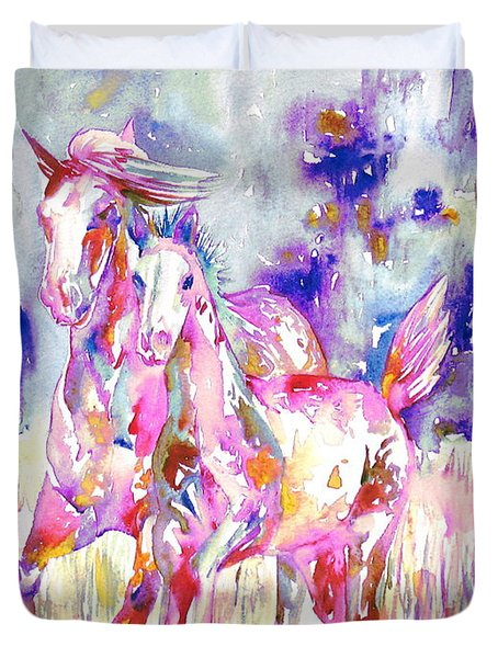 Horse Painting.16 Duvet Cover by Fabrizio Cassetta
