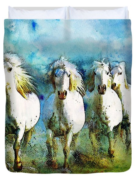 Horse Paintings 005 Duvet Cover by Catf
