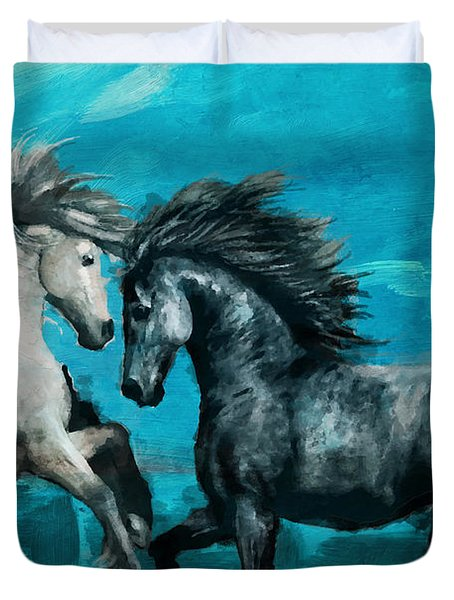 Horse Paintings 011 Duvet Cover by Catf