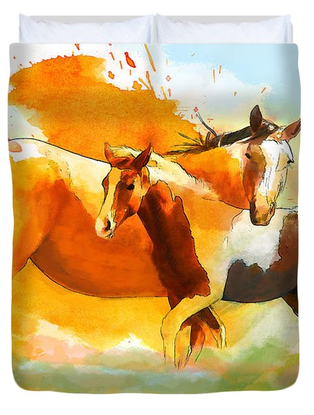 Horse Paintings 013 Duvet Cover by Catf