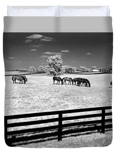 Duvet Cover featuring the photograph Horse Pasture Infrared by Martin Konopacki