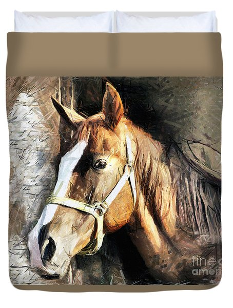 Horse Portrait - Drawing Duvet Cover