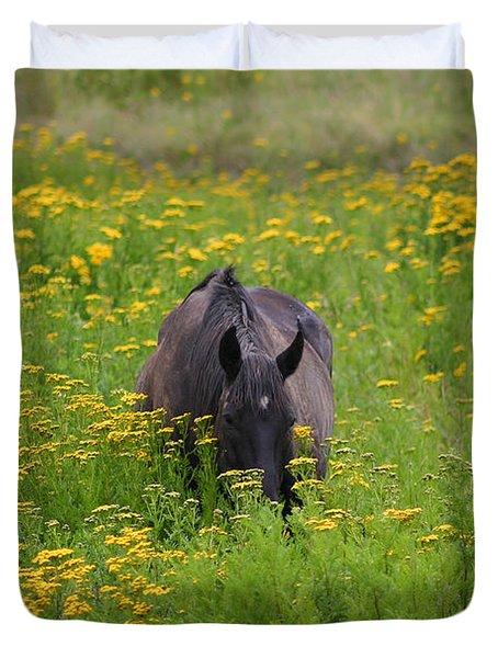 Horse Power Flower Power Duvet Cover by Bob Hislop