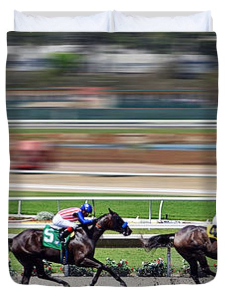 Duvet Cover featuring the photograph Horse Racing by Christine Till