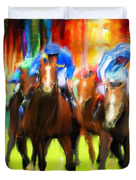 Horse Racing Duvet Cover by Lourry Legarde