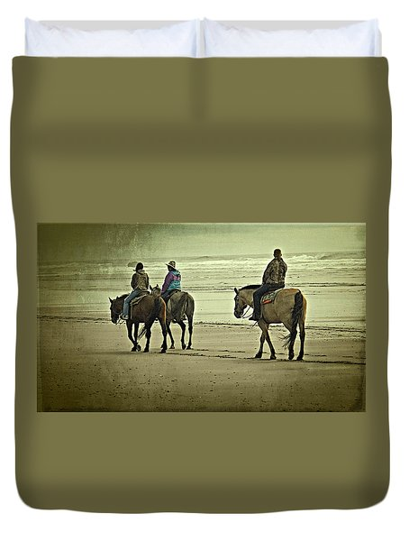 Duvet Cover featuring the photograph Horseback Riding On The Beach by Thom Zehrfeld