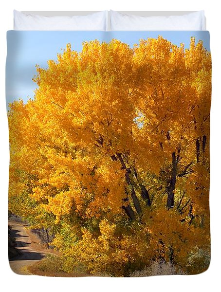 Horse Thief Canyon Gold Duvet Cover by Bob Hislop