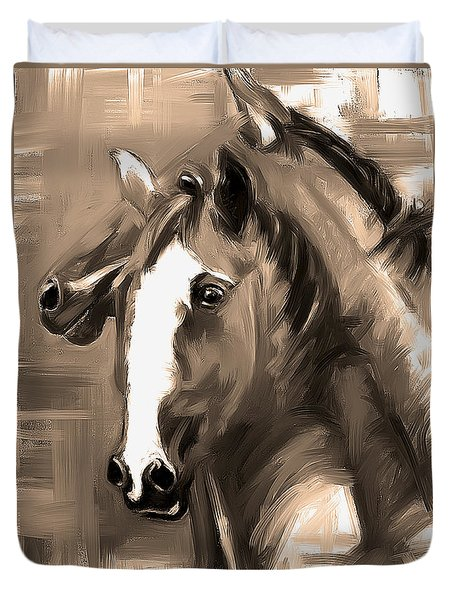 Duvet Cover featuring the painting Horse Together 1 Sepia by Go Van Kampen