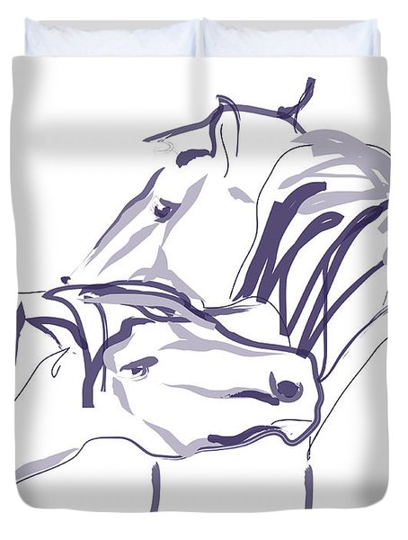 Duvet Cover featuring the painting Horse - Together 10 by Go Van Kampen