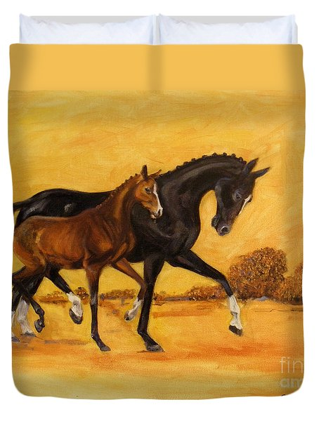 Duvet Cover featuring the painting Horse - Together 2 by Go Van Kampen