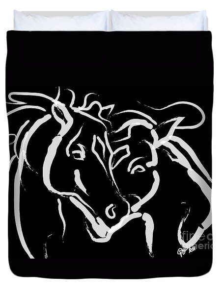 Duvet Cover featuring the painting Horse- Together 5 by Go Van Kampen